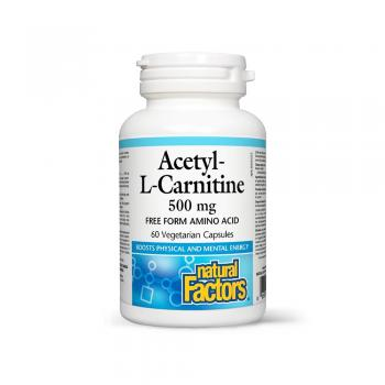 Acetyl-l- carnitina amino-acid in forma libera 500mg 60 cps NATURAL FACTORS