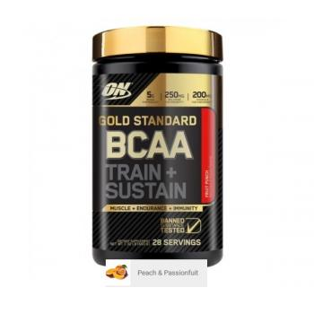 Aminoacizi on gold standard bcaa train + sustain peach and passionfruit 266 gr OPTIMUM NUTRITION