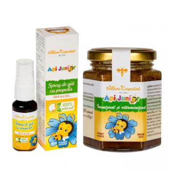 Api junior - imunizant si vitaminizant 200gr + spray de gat propolis Api junior (Gratis) 20 ml ALBINA CARPATINA