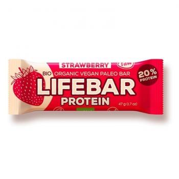 Baton proteic cu capsuni raw bio 47 gr LIFEBAR
