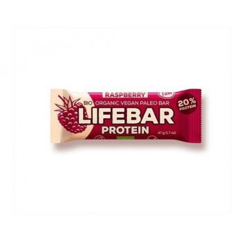 Baton proteic cu zmeura raw bio 47 gr LIFEBAR