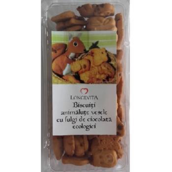 Biscuiti animalute vesele cu fulgi de ciocolata 140 gr LONGEVITA