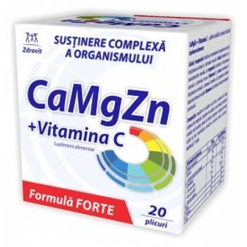 Calciu, magneziu, zinc + vitamina c forte 20 pl ZDROVIT