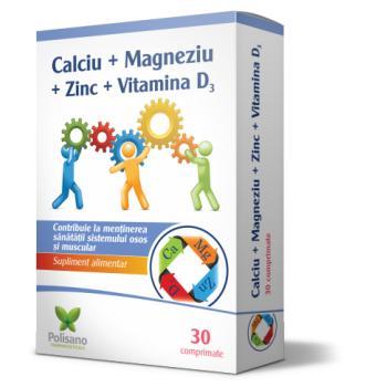 Calciu + magneziu + zinc + vitamina d3 30 cpr POLISANO