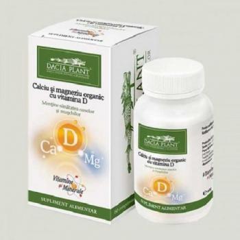 Calciu si magneziu organic cu vitamina d 60 cpr DACIA PLANT