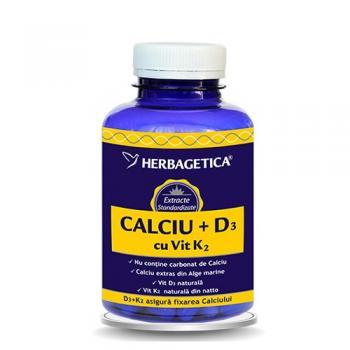 Calciu+d3+k2 120 cps HERBAGETICA