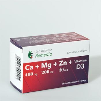 Ca+mg+zn +vitamina d3 50 cpr REMEDIA