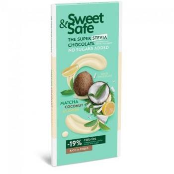 Ciocolata alba cu matcha cocos si lamaie monteoro fara zahar 90 gr SLY NUTRITIA