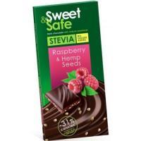 Ciocolata amaruie sem. de canepa&zmeura ind. stevie 90gr sweet&safe