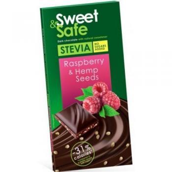 Ciocolata amaruie sem. de canepa&zmeura ind. stevie 90gr sweet&safe 90 gr SLY NUTRITIA