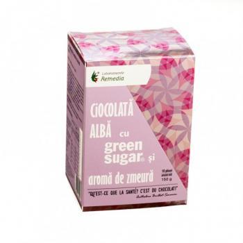 Ciocolata calda alba cu green sugar si aroma de zmeura 10 pl REMEDIA