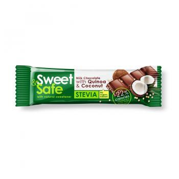 Ciocolata lapte cocos&quinoa indulcitor stevie 25gr sweet&safe 25 gr SLY NUTRITIA