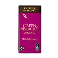 Ciocolata organica cu lapte, alune si stafide