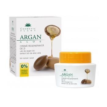 Crema regeneranta de zi cu ulei de argan bio si extract bio de aloe vera 50 ml COSMETIC PLANT