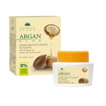 Crema restructuranta de noapte cu ulei de argan bio si extract bio de aloe vera 50 ml COSMETIC PLANT