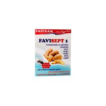 Favisept 1 comprimate cu ghimbir, propolis, vit.c, vit.b2, vit.b5, zinc, argila 20 cpr FAVISAN