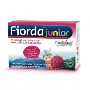 Fiorda bomboane junior de supt cu zmeura  15 cpr PLANTEXTRAKT