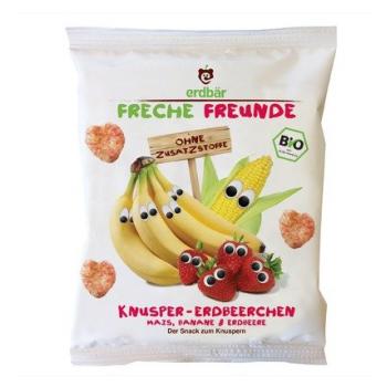 Gustare crocanta cu banane si capsuni bio  25 gr ERDBAR