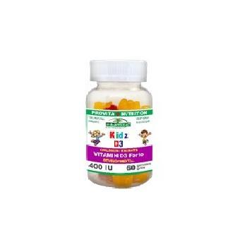 Kids d3 - vitamina d3 pentru copii 40ui-jeleuri masticabile cu aroma naturala de fructe 60 cps PROVITA