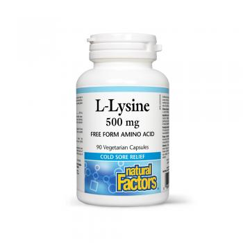 L-lysine amino-acid in forma libera 500 mg 90 cps NATURAL FACTORS