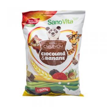 Musli crunch cu banane si ciocolata 500 gr SANO VITA
