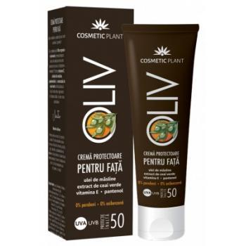 Oliv-crema protectoare pentru fata spf 50 cu ulei de masline,extract de ceai verde,vit.e,pantenol 50 ml COSMETIC PLANT