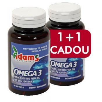 Omega 3 1000mg 1+1 gratis 30 cps ADAMS SUPPLEMENTS