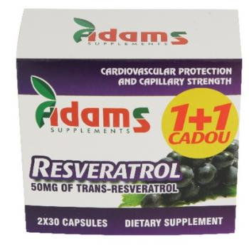 Resveratrol 50mg 1+1 cadou 30 cps ADAMS SUPPLEMENTS