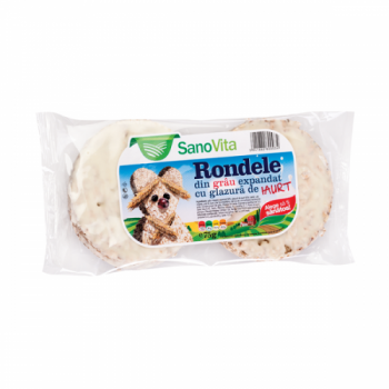 Rondele din grau expandat cu glazura de iaurt 75 gr SANO VITA