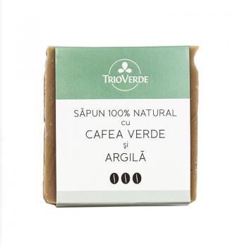 Sapun 100% natural cu cafea verde si argila 110 gr TRIO VERDE