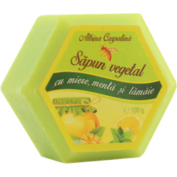 Sapun vegetal cu miere, menta si lamaie 100 gr ALBINA CARPATINA