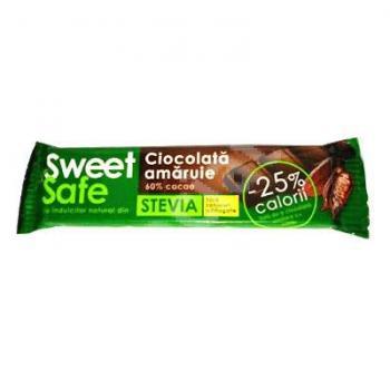 Sweet&safe, ciocolata amaruie cu stevia 25 gr SLY NUTRITIA