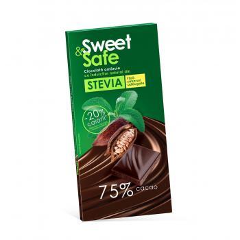 Sweet&safe, ciocolata amaruie cu stevia 90 gr SLY NUTRITIA