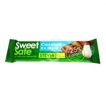 Sweet&safe, ciocolata cu lapte si stevia 25 gr SLY NUTRITIA