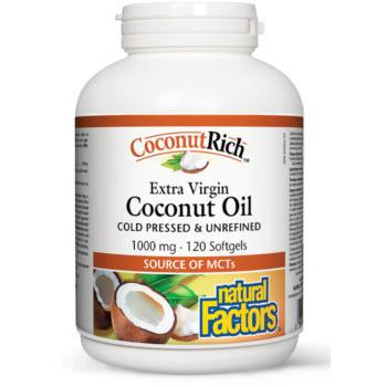 Ulei de cocos biologic extravirgin – 1000 mg 120 cps NATURAL FACTORS