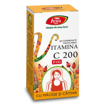 Vitamina c 200 mg cu macese si catina-f152-masticabila 60 cpr FARES