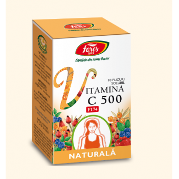 Vitamina c 500 naturala solubila 10 pl FARES