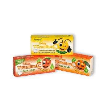 Vitamina c 100 mg cu aroma de capsuni 20 cpr BIOEEL