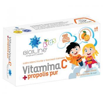 Vitamina c + propolis pur, pentru copii 30 cpr BIO SUN LINE