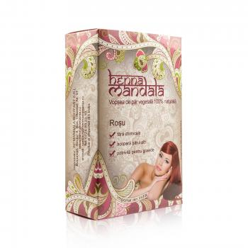Vopsea naturala pentru par, rosu 100 gr HENNA MANDALA