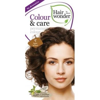 Vopsea permanenta fara amoniac, colour & care, 5 light brown, hairwonder  40+20 ml HENNAPLUS
